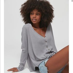 UO | Jojo Oversized Thermal Button-Front Top